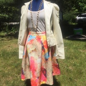 H&M spring pastel watercolor midi skirt size 6
